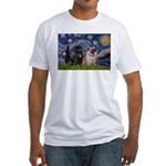 Starry Night / 2 Pugs Fitted T-Shirt
