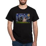 Starry Night / 2 Pugs Dark T-Shirt