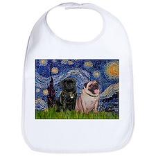 Starry Night / 2 Pugs Bib
