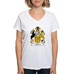 Pilgrim Family Crest Women's V-Neck T-Shirt