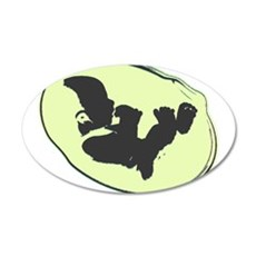 Baby Silhouette Yellow 20x12 Oval Wall Decal