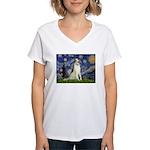 Starry Night & Borzoi Women's V-Neck T-Shirt