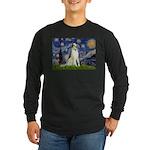 Starry Night & Borzoi Long Sleeve Dark T-Shirt