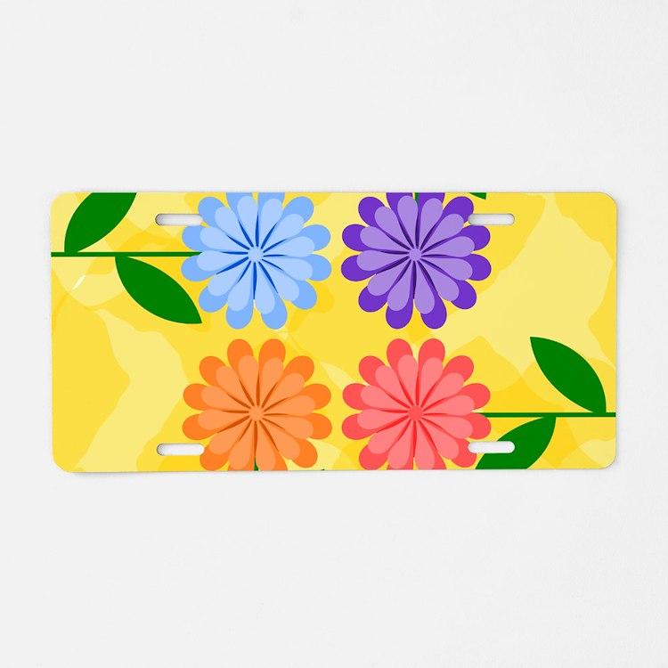 Cute Yellow flower Aluminum License Plate