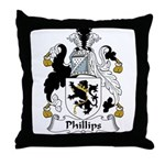 Phillips Family Crest Throw Pillow