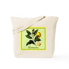 Lemons, Lemon Flowers Cloth Canvas Tote Bag