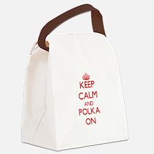 Keep Calm and Polka ON Canvas Lunch Bag