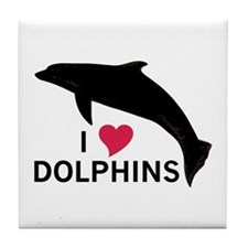I Heart Dolphins Tile Coaster