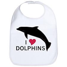 I Heart Dolphins Bib