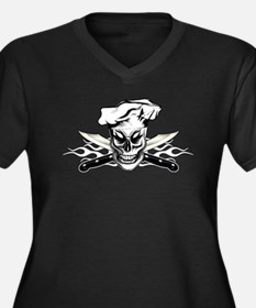 Chef Skull and White Flaming Kni Plus Size T-Shirt