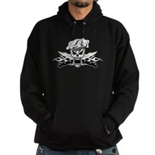 Chef Skull and White Flaming Knives Hoodie