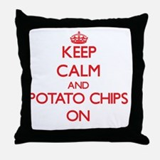 Keep Calm and Potato Chips ON Throw Pillow
