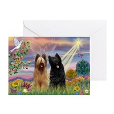 Cloud Angel & Briard Pair Greeting Card
