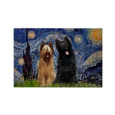 Starry Night & Briard Pair Rectangle Magnet