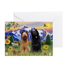 Briard Pair in Mt. Country Greeting Card