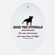 Save The Pit bulls Oval Ornament