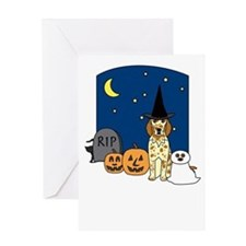 English Setter Howling Halloween Greeting Card