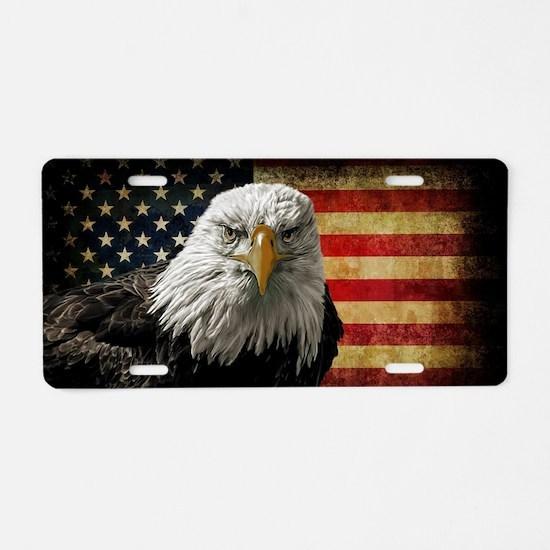 Bald Eagle and Flag Aluminum License Plate