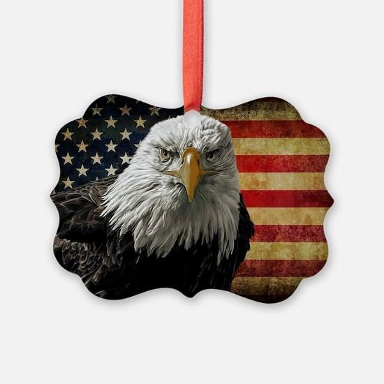 Bald Eagle and Flag Ornament