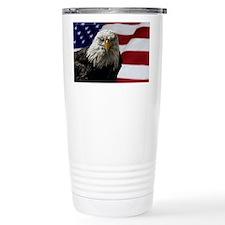 Bald Eagle and Flag Travel Mug