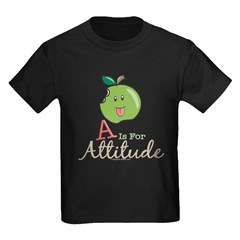 A Is For Attitude Apple Kids Black T-Shirt