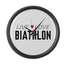 Live Love Biathlon Large Wall Clock