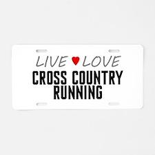 Live Love Cross Country Running Aluminum License P