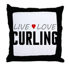Live Love Curling Throw Pillow