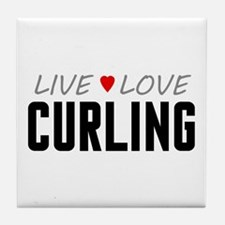 Live Love Curling Tile Coaster