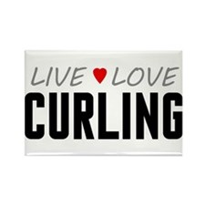 Live Love Curling Rectangle Magnet