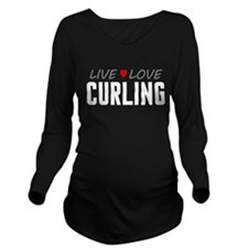 Live Love Curling Long Sleeve Maternity T-Shirt