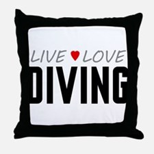 Live Love Diving Throw Pillow