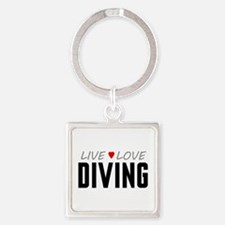 Live Love Diving Square Keychain