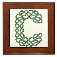 Celtic Knot Green Letter C Framed Tile