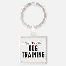 Live Love Dog Training Square Keychain