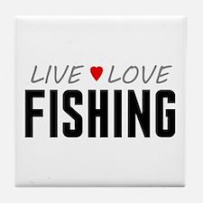 Live Love Fishing Tile Coaster