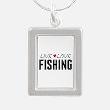 Live Love Fishing Silver Portrait Necklace