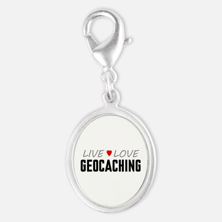 Live Love Geocaching Silver Oval Charm