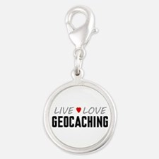 Live Love Geocaching Silver Round Charm