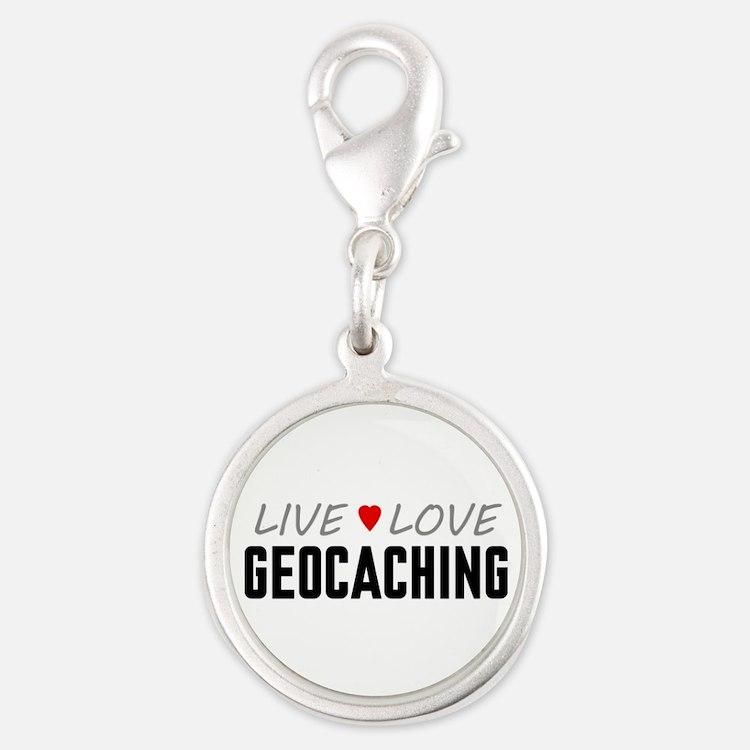 Live Love Geocaching Silver Round Charm