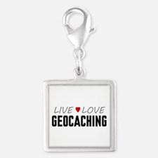 Live Love Geocaching Silver Square Charm