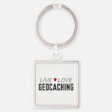 Live Love Geocaching Square Keychain