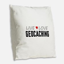 Live Love Geocaching Burlap Throw Pillow
