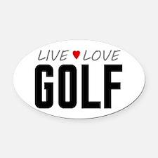Live Love Golf Oval Car Magnet