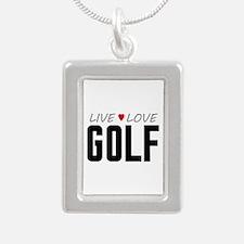 Live Love Golf Silver Portrait Necklace