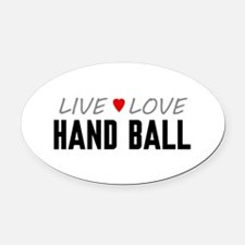 Live Love Hand Ball Oval Car Magnet
