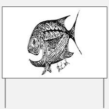 Chrome Cubby Retro Fish. Fish Retro Tun Yard Sign