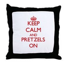 Keep Calm and Pretzels ON Throw Pillow