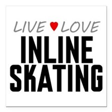 "Live Love Inline Skating Square Car Magnet 3"" x 3"""