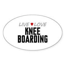 Live Love Knee Boarding Oval Decal